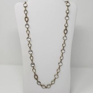 Kiam Family Gold Tone Crystal Link Long Necklace